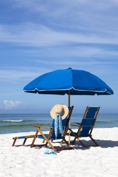 Relax at the Beach-The Strand is only 5 miles from one of Naples best beaches.so thankful Parasols, Umbrellas, I Love The Beach, Rest And Relaxation, Summer Dream, Am Meer, Beach Scenes, Beach Chairs, Blue Chairs