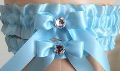 Wedding Garter Set Bridal Garter Set Blue by WeddingGarterStore