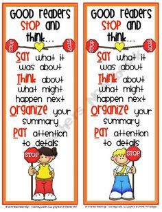 Help your students remember to STOP and think while they read with these colorful bookmarks.Enjoy the file for free! Going to use next year! Library Lessons, Reading Lessons, Reading Quotes, Reading Strategies, Reading Skills, Teaching Reading, Reading Comprehension, Guided Reading, Reading Tips