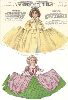 The Paper Collector - New York Journal dolls, 1901 Victorian Paper Dolls, Vintage Paper Dolls, Antique Dolls, Victorian Dollhouse, Modern Dollhouse, Fabric Paper, Paper Art, Paper Crafts, New York Journal