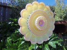 vintage glass yard art | Art - Glass Plate Flower Hand Painted in Yellow Pearl & Pink - Yard ...