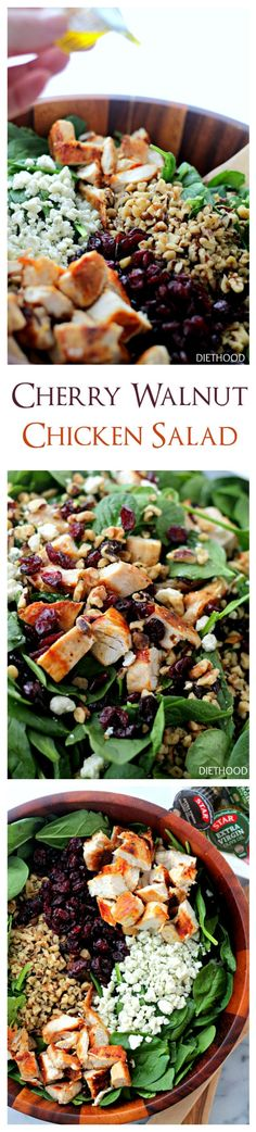 Cherry Walnut Chicken Salad | www.diethood.com | Delicious chicken salad featuring a combination of dried cherries, walnuts and baby spinach tossed with a simple olive oil and vinegar dressing. @diethood