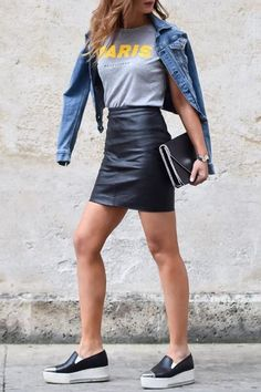 @evatornado casual street style look with a leather skirt