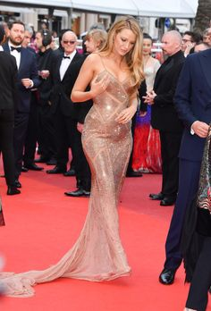 Blake Lively in a shimmering cutout gown.