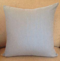 Seersucker Throw Pillow soft blue hot pink by ModernFolkShop