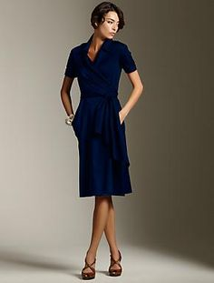 Talbots - what a classy dress... Navy always looks sharp.