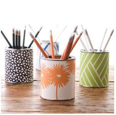 Cute holders for pens/pencils in the office, or mascara and brushes at home!