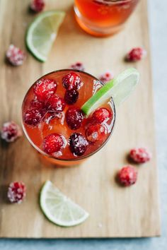 Sparkling Vodka Cranberry with Lime and Sugared Cranberries