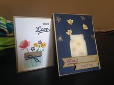 Jar of love card Mason Jar Cards, Mason Jars, Make Blog, Card Making Techniques, Love Cards, Stampin Up, Birthday Cards, Paper Crafts, Bows