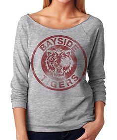 Womens Bayside Tigers Saved By the Bell Kelly Kapowski Terry 3/4 Sleeve T-Shirt  Small  Heather Grey