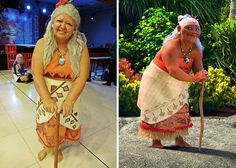 Proving that costumes aren't just for kids, Solange Amorim, or Tia sol, has taken dress-up to another level. The Brazil-based mom enjoys attending local cosplay events, where she wows young and old attendees alike with her spot-on pop culture costumes. Moana Halloween Costume, Family Halloween Costumes, Halloween Kostüm, Halloween Cosplay, Diy Costumes, Costumes For Women, Moana Costumes, Costume Ideas, Moana Costume Diy