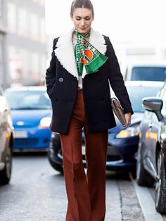 Retro-chic outfit: colorful silk scarf + flared trousers