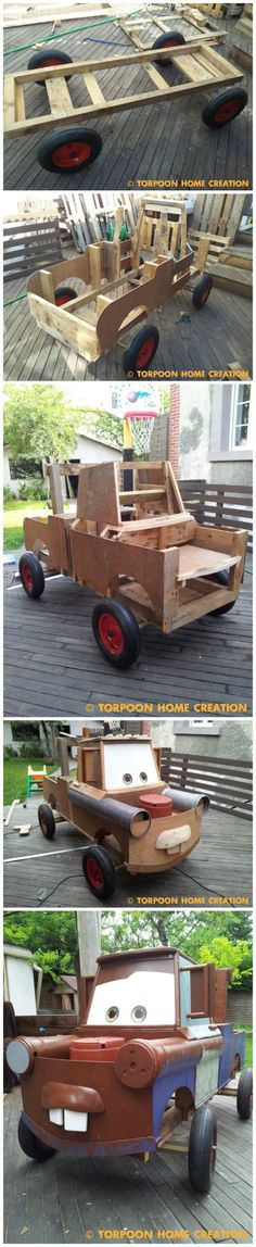 There Was a Soapbox Racer and He Decided to Make Mater (Cars) from Repurposed Pallets and Other Materials Fun Pallet Crafts for Kids Pallet Crafts, Wooden Crafts, Pallet Projects, Pallet Ideas, Woodworking For Kids, Woodworking Projects, Wood Car, Soap Box Cars, Palette Deco
