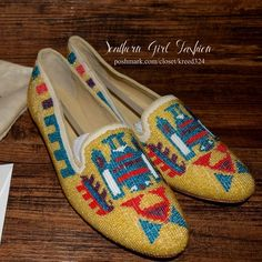 ANTHROPOLOGIE Flats Embellished Native Ballet Shoe Women's Size 10 (Euro 40).  New with Tags.  $328 Retail + Tax.   Gorgeous southwestern style beaded loafers featuring leather insoles, soles & seed bead upper. Rounded, slightly pointy toe slip on flats.  By Antik Batik for Anthropologie. Comfortable, true to size.  ❗️ No trades, holds   Bundle 2+ items for a 20% discount!    Stop by my closet for even more items from this brand!  ✔️ Items are priced to sell, however reasonable offers will…