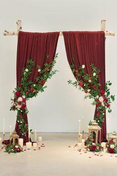 Greenery Garland, Flower Garlands, Flower Decorations, Red Wedding Decorations, Red Wedding Receptions, Red Table Decorations, Burgundy Wedding, Fall Wedding, Wedding Ideas
