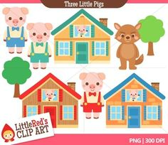 This is a collection of fairy tale clip art featuring the Three Little Pigs!    - 9 color images and 6 black and white lineart (15 image files in total)   - 300 DPI files (nice crisp printing!)  - PNGs (PNG files have transparent backgrounds)   This clip art set has been created for personal, educational, and small-business (homemade/handmade items) use.