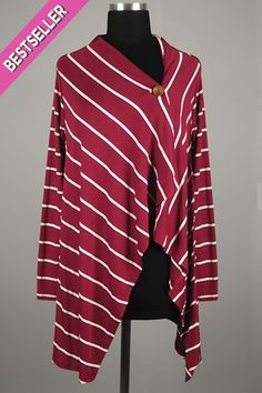 *** New Style *** Chic Long Sleeve Knit Cardigan with Asymmetric Button Closure in Preppy Stripes.