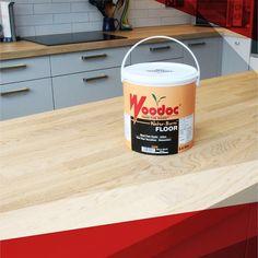 This kitchen counter was sealed with Woodoc Water-Borne FLOOR Fire Extinguisher, Counter, Indoor, Flooring, Wood, Water, Kitchen, Interior, Cucina