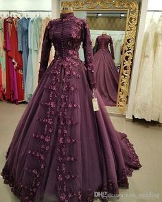Indian gowns dresses - Medieval Princess Prom Ball Gown with Appliques Flowers Muslim Dress Party Evening Wear High Neck Long Sleeves Dubai Style Gowns Plus Size Evening Gown, Long Sleeve Evening Gowns, Sexy Evening Dress, Prom Dresses Long With Sleeves, Women's Evening Dresses, Muslim Prom Dress, Muslim Wedding Dresses, Formal Dresses, Muslim Gown