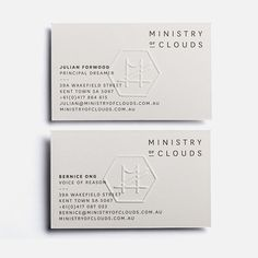 Ministry of Clouds, branding, business cards, logo, mark, emblem, emboss, minimal, typography