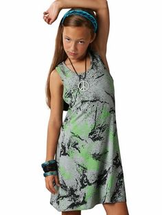 Drama Tween Neon Green Splatter Paint Tank Dress- designed for today's stylist tween girl.  $40