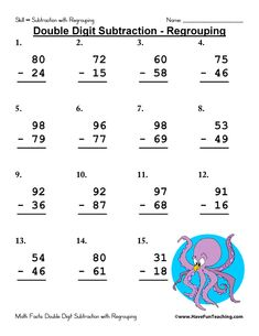 Double Digit Subtraction With Regrouping Worksheets Subtraction With Regrouping Worksheets, Teaching Subtraction, Subtraction Activities, Math Worksheets, Addition Worksheets, Math Activities, Have Fun Teaching, Teaching Ideas, 2nd Grade Math