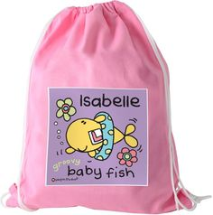 Personalise this Bang On The Door Baby Fish Pink Swimbag with a name using up to 12 characters.