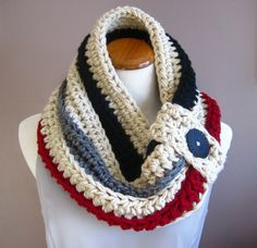 Chunky Bulky Button Crochet Cowl:  Off White with Black, Gray and Cranberry Stripe with Black Button
