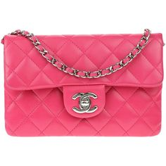 Pre-owned Chanel Pink Lambskin Leather Mini Wallet On Chain WOC ($2,650) ❤ liked on Polyvore featuring bags, handbags, pink purse, pink handbags, chanel purse, summer handbags and chanel handbags