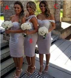 Steven Khalil 2016 Hot Fashion Short Knee Length Beach Bridesmaid Dresses Different Style On Shoulder Backless Lace Stain Wedding Party Gown Beach Wedding Bridesmaid Dresses Beaded Bridesmaid Dresses From Gaogao8899, $75.15| Dhgate.Com