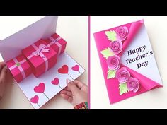 Happy Birthday Cards Handmade, Birthday Greeting Cards, Handmade Teachers Day Cards, Teachers Day Greetings, Eid Cards, Teacher Cards, Christmas Card Crafts, Easy Paper Crafts, Teachers' Day
