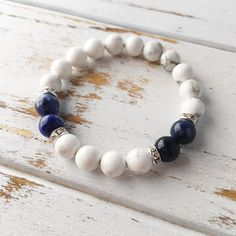 Peaceful Communication ~ Genuine White Howlite & Sodalite Bracelet  #yogainspiration #yogafit #yoga #yogi #best #yogaeverydamnday #beautiful #journey #live #mom