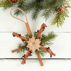 how to make rustic Christmas ornaments - natural tree decorations - cute DIY home made gift ideas - hand made holiday presents and decorations - easy gift ideas - fun ornament ideas - easy quick crafts for Christmas
