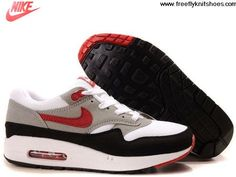 Low Price Mens Nike Air Max 1 White Varsity Red Medium Grey Shoes Shoes Store