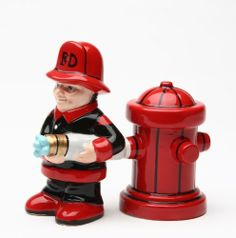 """Fireman and Hydrant Salt & Pepper Shaker Set by PacificGift. $14.50. Ceramic salt and pepper shakers.. Approx. 4 inches tall.. Liven up your table setting when you serve that 5-Alarm Chili or other """"hot"""" and spicy dishes! Or, just add them to your collection!  Ceramic salt & pepper shakers approx. 4"""" tall.. Save 12%!"""