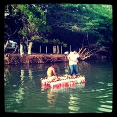 Home made raft from soda bottles