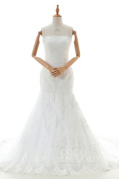 Latest+Trumpet-Mermaid+Strapless+Dropped+Court+Train+Tulle+and+Lace+Ivory+Sleeveless+Zipper+With+Buttons+Wedding+Dress+with+Appliques+and+Beading+B14E3A023