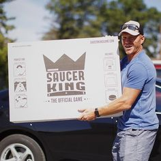Chris Neil all smiles when  picking up his new #SaucerKingGame