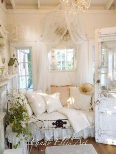 Antique furniture, vintage lamps and retro home accessories for a romatic feminine shabby chic bedroom.