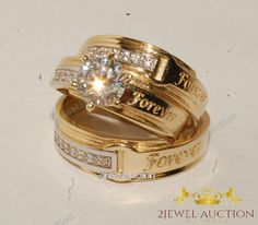 14K Yellow Gold Round Cut Diamond Engagement Bridal Wedding Ring Trio Set 2.10Ct #2jewelauction #WeddingEngagementAnniversaryTrioRingSet