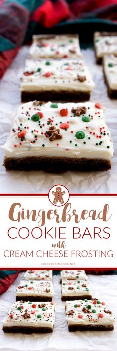 These soft & chewy Gingerbread Cookie Bars couldn't be any easier to make! They are deliciously spicy with just the right amount of cream cheese frosting! Christmas Food Gifts, Christmas Desserts, Holiday Treats, Holiday Recipes, Christmas Recipes, Holiday Parties, Holiday Appetizers, Holiday Foods, Christmas Goodies