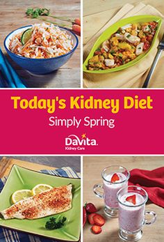 Greet the spring season with recipes from the new Today's Kidney Diet: Simply Spring cookbook. Recipes such as Cucumber and Radish Salad and Strawberry Rhubarb Applesauce showcase spring's best produce. You'll also find tips on: simplifying spring meals, Davita Recipes, Kidney Recipes, Recipies, Spring Meals, Spring Recipes, Healthy Kidney Diet, Kidney Health, Healthy Kidneys, Kidney Foods