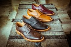 NPS Brogue Derby Shoes in black, brown, acorn and burgundy. Beautiful goodyear welted soles and quality leather. Availalbe at http://www.shoes121.co.uk/brands/nps