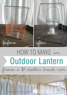Outdoor lantern from a $1 store trash can!