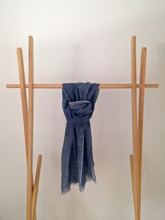 19 Andrea's 47 Cashmere Blue Striped Scarf Made from Linen and Silk it is soft to touch and has delicately loose edging. A light, flowing scarf for spring and summer. Soft Furnishings, Clothes Hanger, Cashmere, Touch, Silk, Spring, Summer, Blue, Accessories