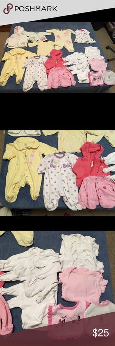 Newborn, 0-3 mon baby girl clothes 21 baby girl items. All used and most in good condition. Some of the white onesies and bibs have light stains and the Winnie the Pooh sweater has a light stain as well. All washed and clean though. 5 long sleeved onsies, 5 short sleeved onsies, 2 bibs, 3 Jammies, 4 sweaters, 1 shirt and 1 dress. One Pieces Footies