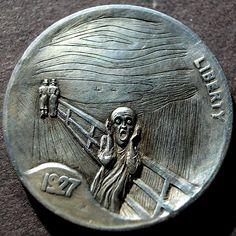 ALEX UZVIN - THE SCREAM - 1927 BUFFALO NICKEL Citation Art, Hobo Nickel, Coin Art, Art Forms, Paper Cutting, Sculpture Art, Coins, Carving, Bending