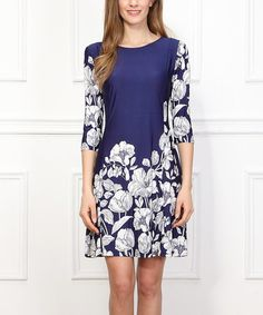 Look what I found on #zulily! Blue & White Floral Shift Dress by Reborn Collection #zulilyfinds