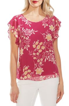 Women's Vince Camuto Flutter Sleeve Floral Top, Size X-Large - Pink Flutter Sleeve Top, Vince Camuto, Floral Tops, Couture, Womens Fashion, Sleeves, Clothes, Dresses, Style
