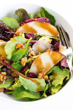 Autumn Pear Salad with Candied Walnuts and Balsamic Vinaigrette -
